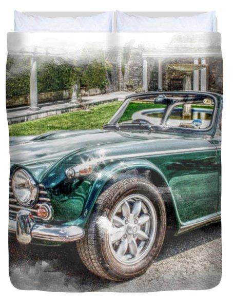 Triumph Tr5 At Roman Gardens Duvet Cover