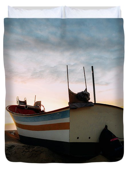 Traditional Wooden Fishing Boat Duvet Cover