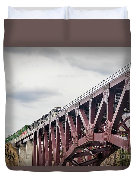 Train Over Letchworth Duvet Cover