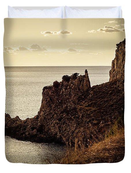 Tranquil Mediterranean Sunset    Duvet Cover