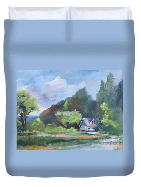 Duvet Cover featuring the painting Tranquility Near The Park - Ellijay, Ga - En Plein Air by Jan Dappen
