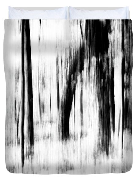 Duvet Cover featuring the photograph Tree Abstract In Black And White by Angie Tirado