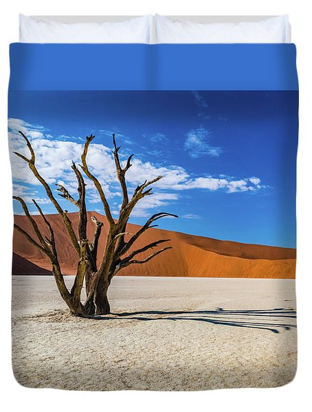 Tree And Shadow In Deadvlei, Namibia Duvet Cover