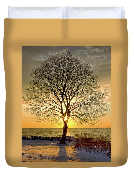 Duvet Cover featuring the photograph Tree Framed Sunrise New Hampshire by Nathan Bush