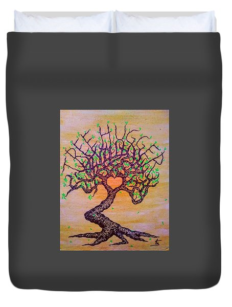 Duvet Cover featuring the drawing Tree Hugger Love Tree W/ Foliage by Aaron Bombalicki