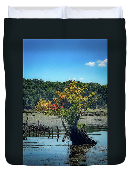 Duvet Cover featuring the photograph Tree In Mallows Bay by Lora J Wilson