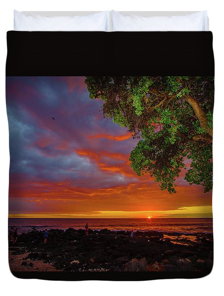 Tree  Sea And Sun Duvet Cover