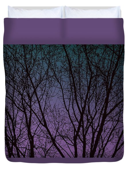 Tree Silhouette Against Blue And Purple Duvet Cover