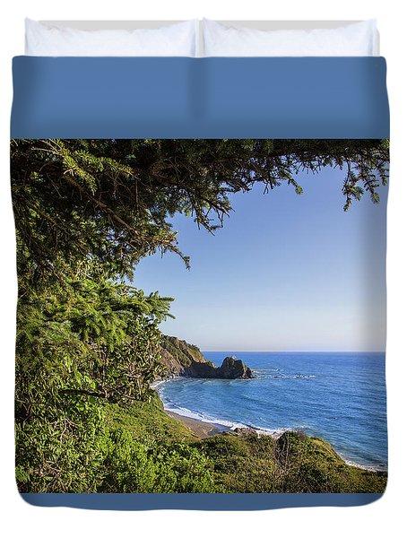 Trees And Ocean Duvet Cover