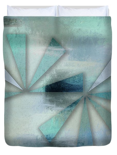 Triangles On Blue Grey Backdrop Duvet Cover