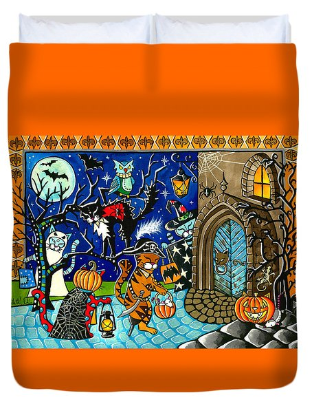 Trick Or Treat Halloween Cats Duvet Cover
