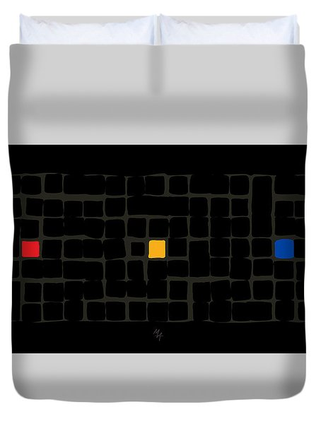 Duvet Cover featuring the digital art Tricolor In Black by Attila Meszlenyi