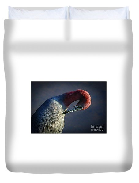 Duvet Cover featuring the photograph Tricolor Preening by Tom Claud