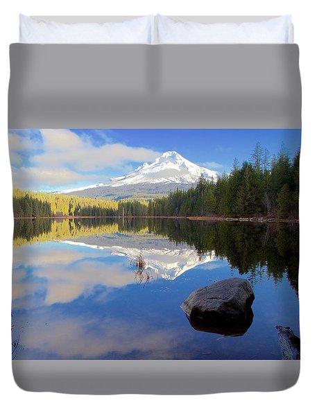 Trillium Lake November Morning Duvet Cover