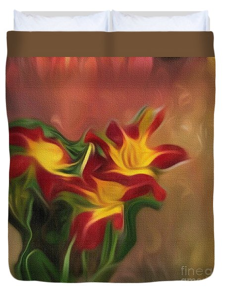 Trio Of Day Lilies Duvet Cover