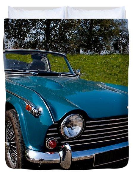 Triumph Tr5 Blue Duvet Cover