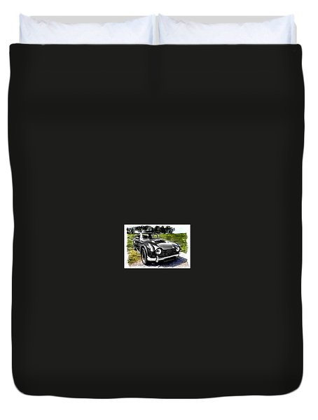 Triumph Tr5 Monochrome With Brushstrokes Duvet Cover