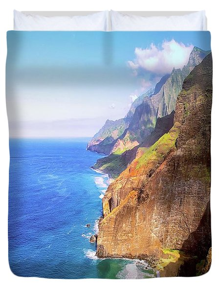 Duvet Cover featuring the digital art Tropical Coastline Hawaii Aerial Photograph Of The Isolated Napali Coast by OLena Art Brand