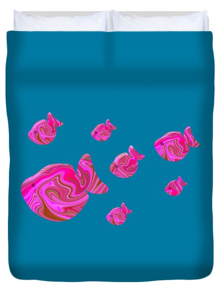 Tropical Fish In Pink Psychedelic Pattern Duvet Cover