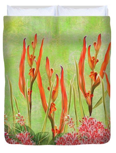Tropical Floral Print Lime Green Batik Duvet Cover