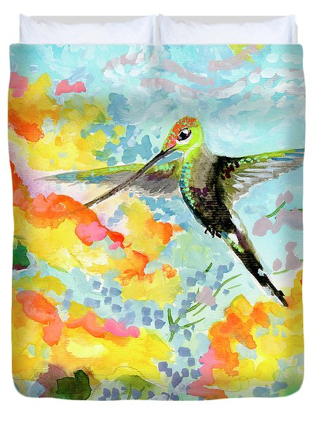 Tropical Hummingbird Duvet Cover