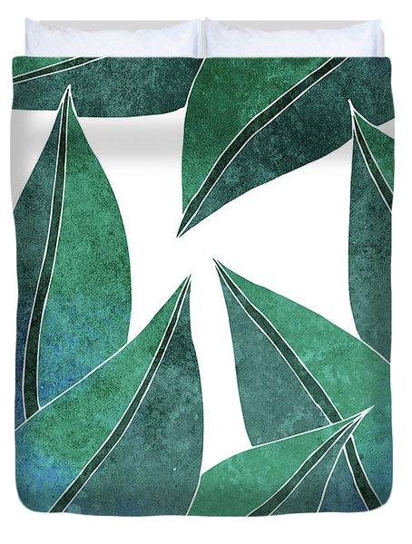 Tropical Leaf Illustration - Blue, Green - Botanical Art - Floral Design - Modern, Minimal Decor Duvet Cover