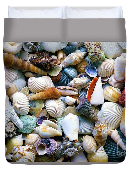 Duvet Cover featuring the photograph Tropical Treasure Seashells A91218 by Mas Art Studio