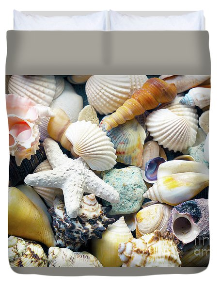 Duvet Cover featuring the photograph Tropical Treasure Seashells B91218 by Mas Art Studio