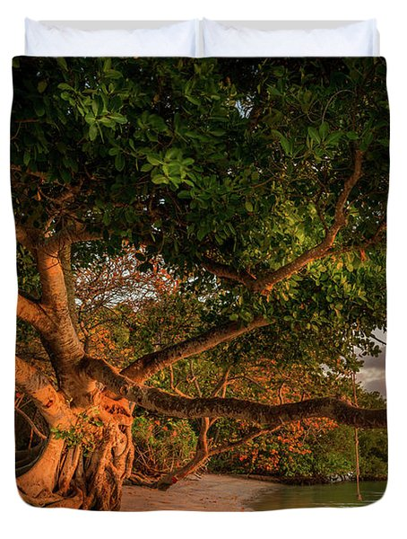 Tropical Tree At North Jetty In Venice, Florida Duvet Cover