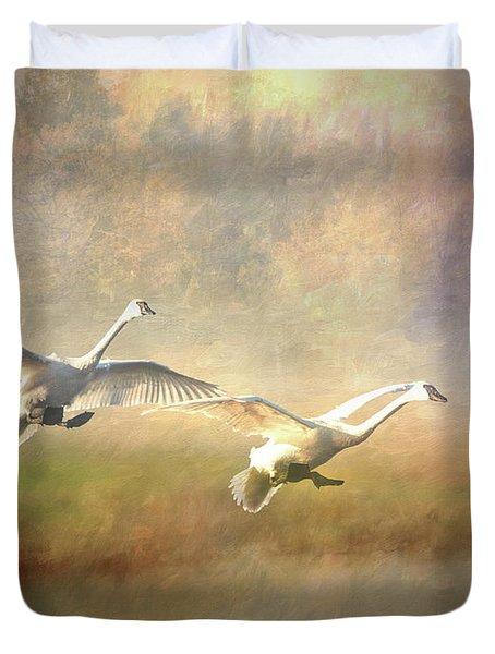 Trumpeter Swan Landing - Painterly Duvet Cover