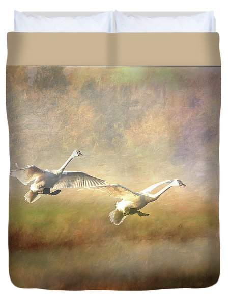 Duvet Cover featuring the photograph Trumpeter Swan Landing - Painterly by Patti Deters