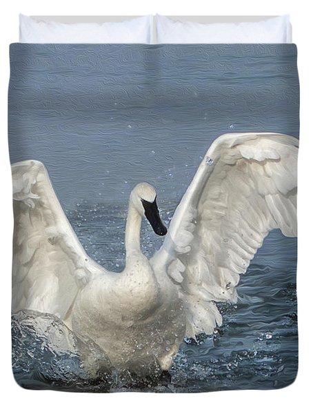 Trumpeter Swan Splash Duvet Cover
