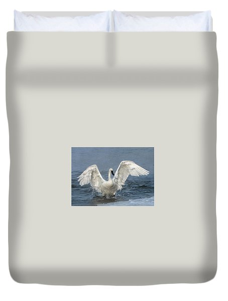 Duvet Cover featuring the photograph Trumpeter Swan Splash by Patti Deters