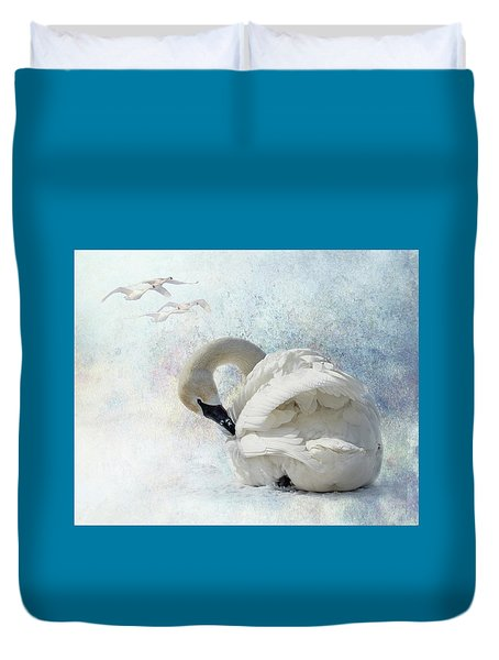 Duvet Cover featuring the photograph Trumpeter Textures #2 - Swan Preening by Patti Deters