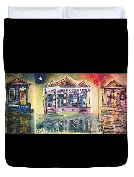 Tryptic On The Bayou New Orleans Duvet Cover