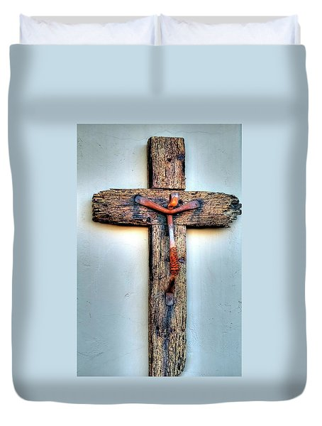 Duvet Cover featuring the photograph Tubac Cross by Jerry Sodorff