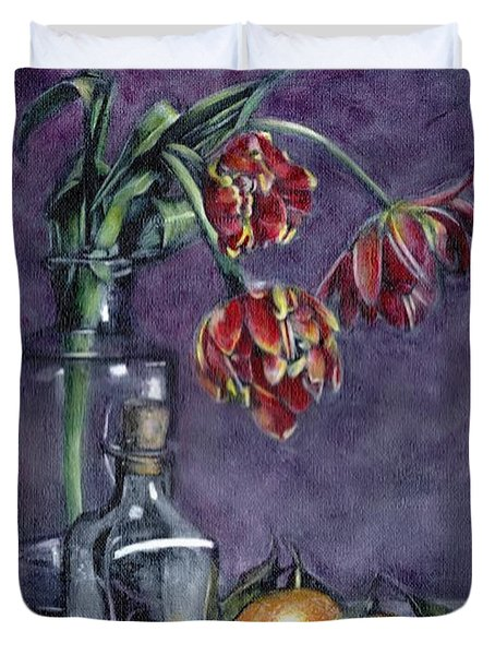 Tulips And Oranges Duvet Cover