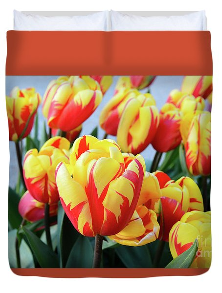 Tulips And Tiger Stripes Duvet Cover