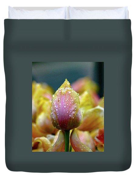 Tulips In The Rain Duvet Cover
