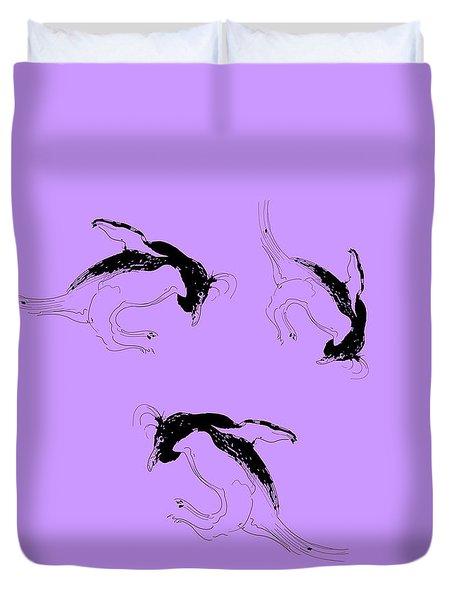 Tumbling Penguins Duvet Cover