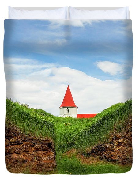 Turf House And Steeple - Iceland Duvet Cover