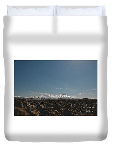 Turkish Landscapes With Snowy Mountains In The Background Duvet Cover