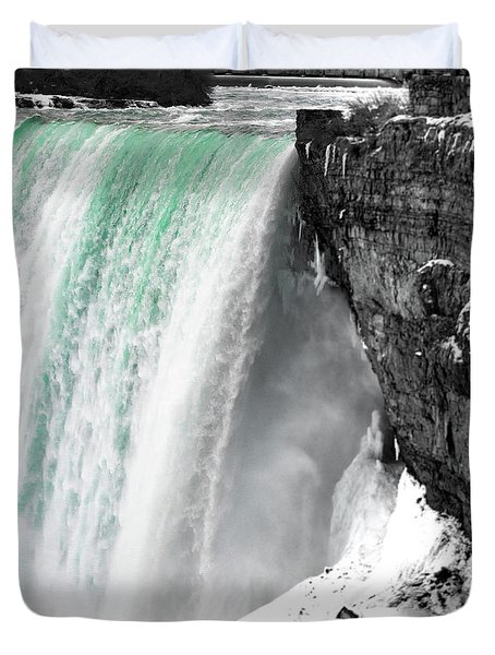 Duvet Cover featuring the photograph Turquoise Falls by Lora J Wilson