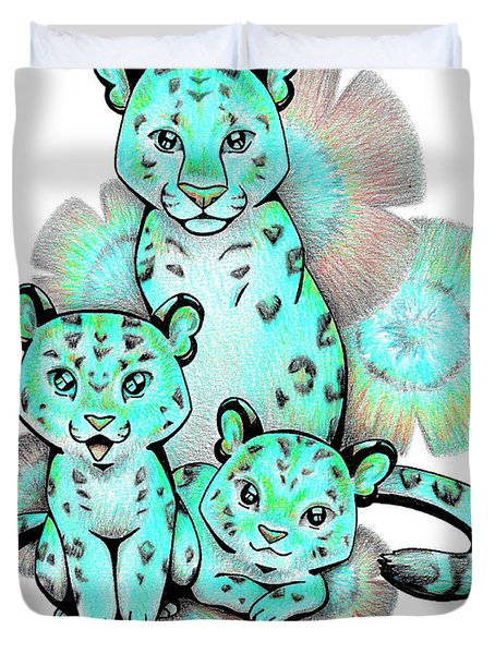 Turquoise Leopards Duvet Cover