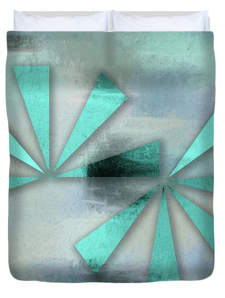 Turquoise Triangles On Blue Grey Backdrop Duvet Cover