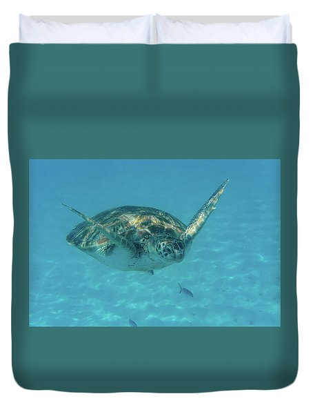 Turtle Approaching Duvet Cover