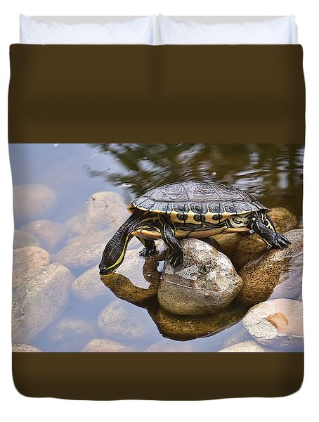 Turtle Drinking Water Duvet Cover