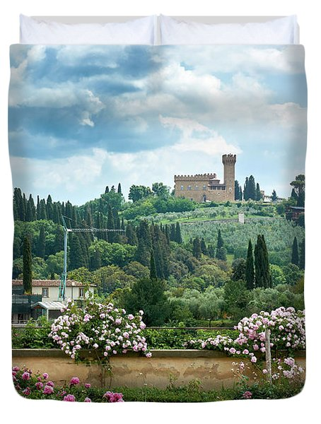 Tuscan Landscape In Florence Duvet Cover