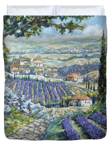 Tuscan Lavender Valleys By Prankearts Duvet Cover