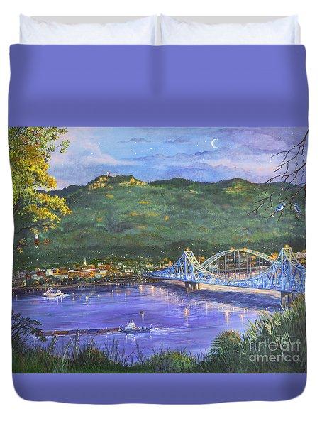 Twilight At Blue Bridges Duvet Cover